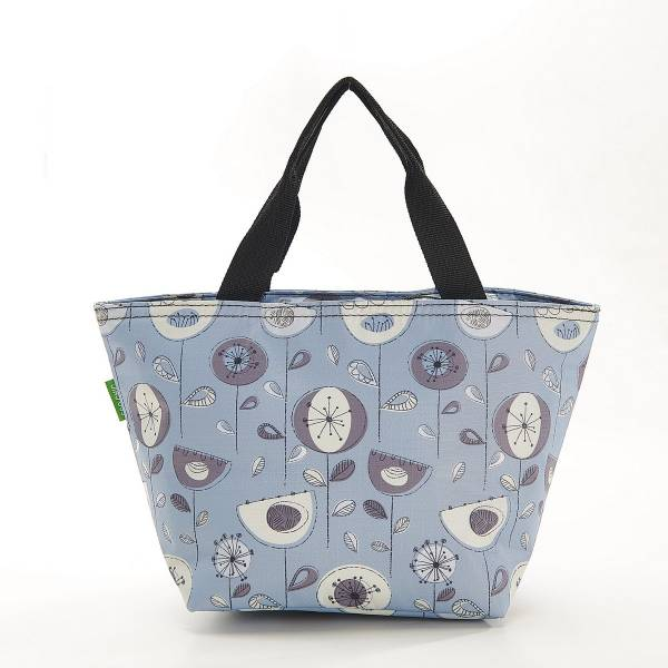35664 C18  Grey 1950's Flower Cool Bag Pack Of 2
