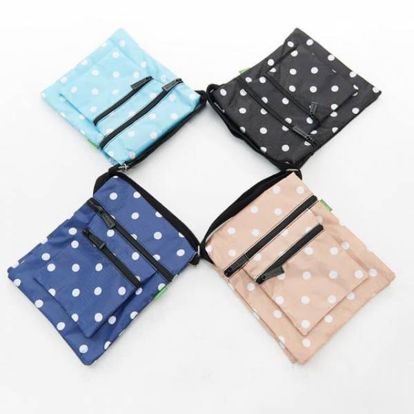 35711 Polka Dots Foldable Cross Body Bag Pack Of 4