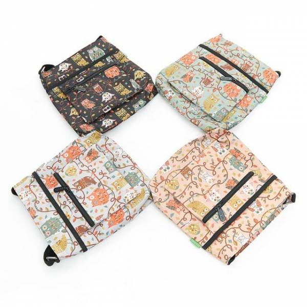 35731 Owl On The Branch Foldable Cross Body Bag Pack Of 4