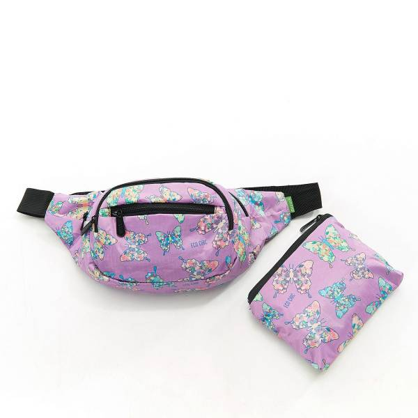 41001 Lilac Butterfly Foldable Bum Bag Pack Of 2