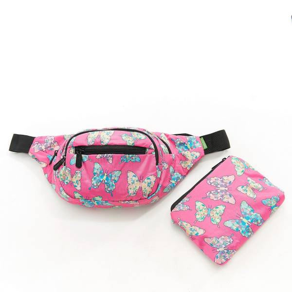 41001 Fuchsia Butterfly Foldable Bum Bag Pack Of 2