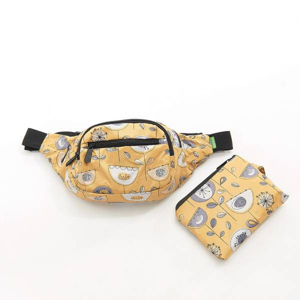 41003 Mustard 1950's Flower Foldable Bum Bag Pack Of 2