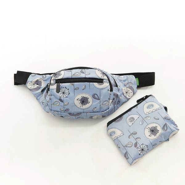 41003 Grey 1950's Flower Foldable Bum Bag Pack Of 2