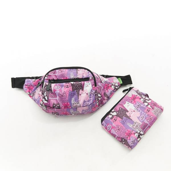 41006 Purple Cats Foldable Bum Bag Pack Of 2