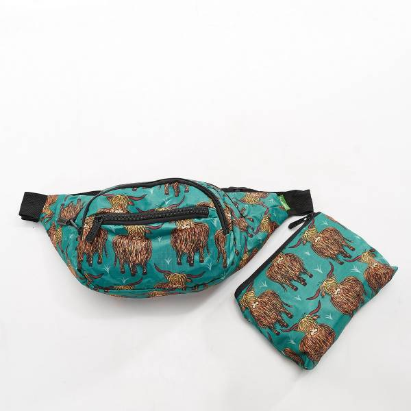 41008 Teal Highland Cow  Foldable Bum Bag Pack Of 2
