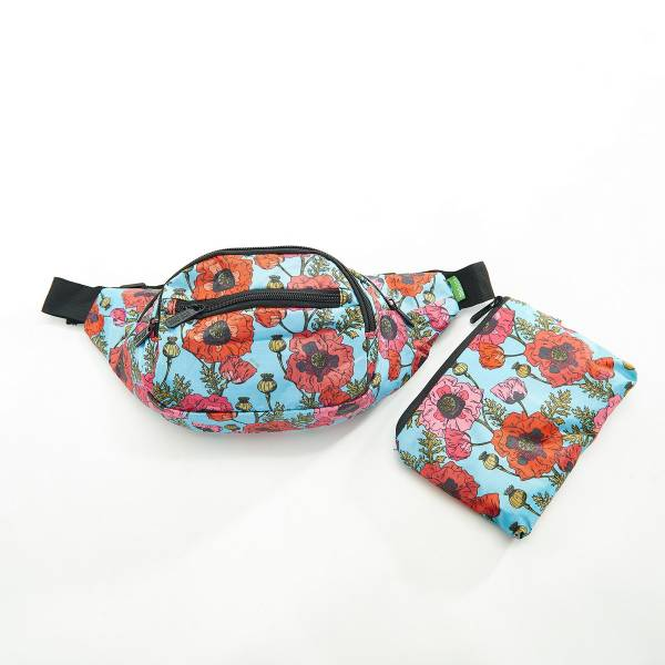 41009 Light Blue Poppy Foldable Bum Bag Pack Of 2
