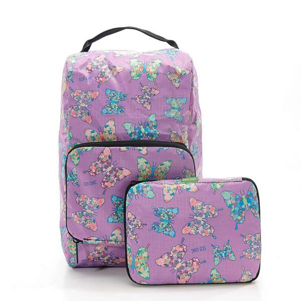 42001 Lilac Butterfly Foldable Boot Bag Pack Of 2