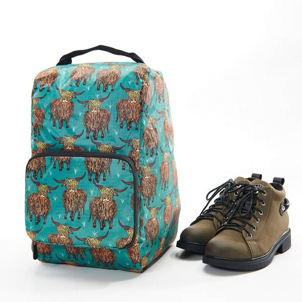 42008 Teal Highland Cow Foldable Boot Bag Pack Of 2