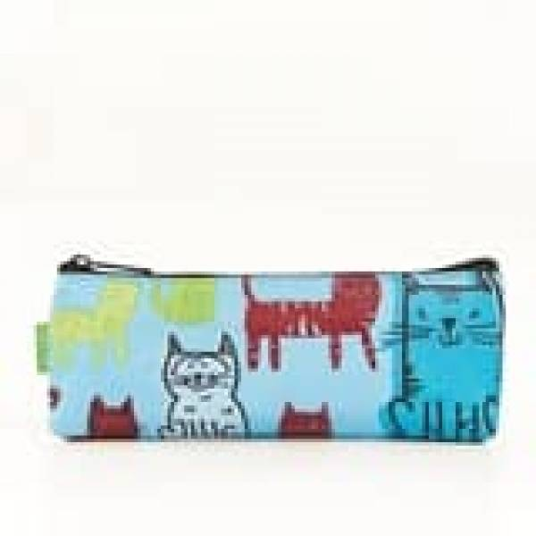 45008 Blue Funky Cat Pencil Case Pack Of 4