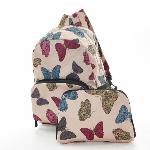 45450 Beige Butterflies Mini Foldable Backpack