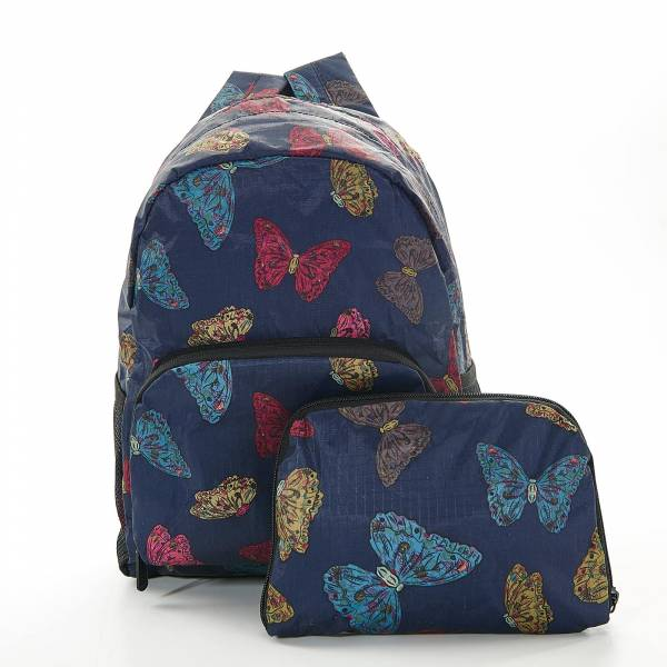 45450 Navy Butterflies Mini Foldable Backpack