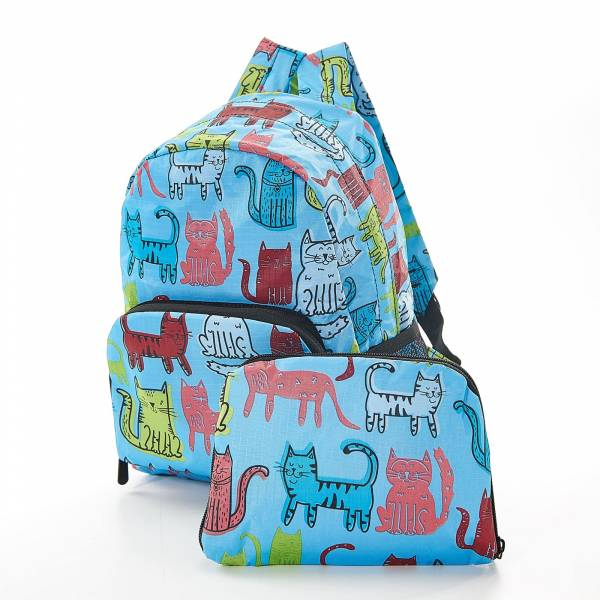 45452 Blue Funky Cat Mini Foldable Backpack