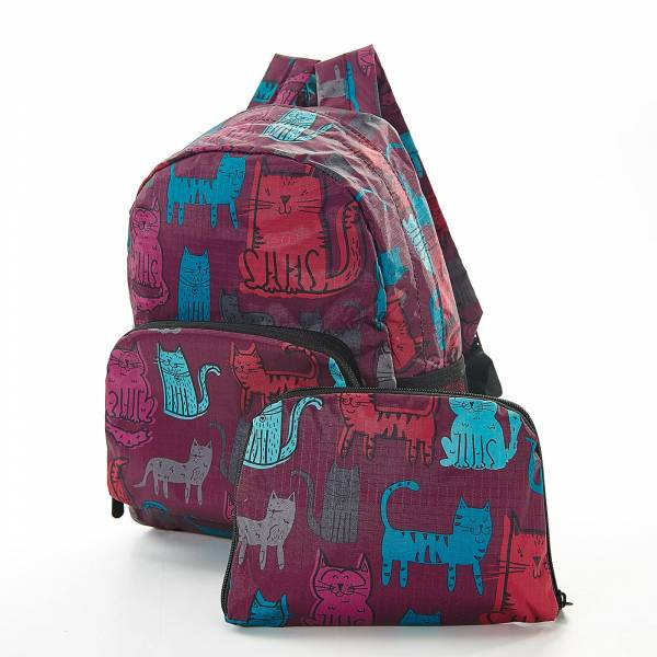 45452 Purple Funky Cat Mini Foldable Backpack