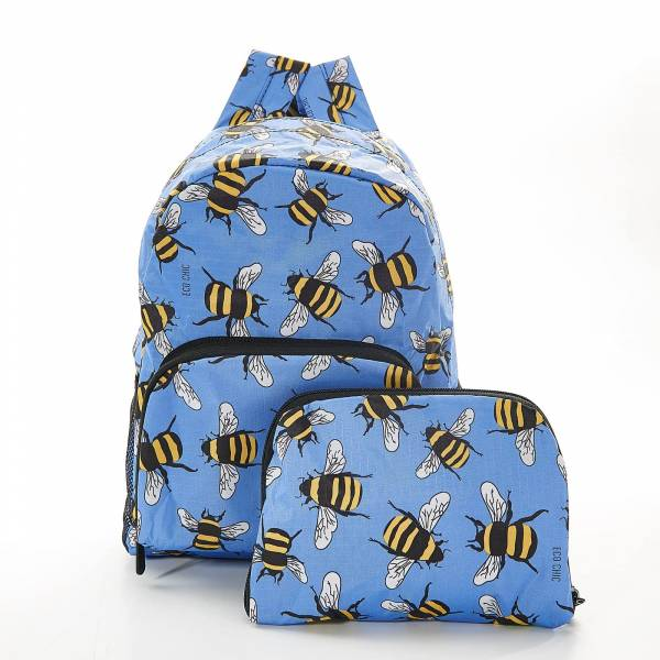 45454 Blue Bees Mini Foldable Backpack