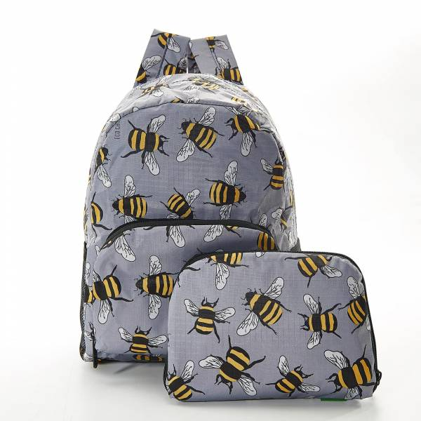 45454 Grey Bees Mini Foldable Backpack