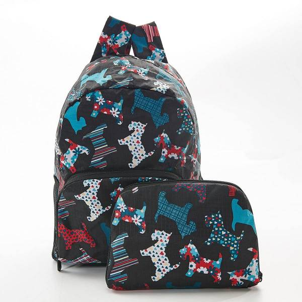 45455 Black Floral Scotty Dog Mini Foldable Backpack