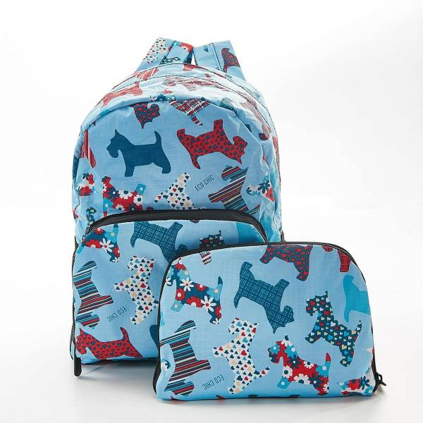45455 Blue Floral Scotty Dog Mini Foldable Backpack