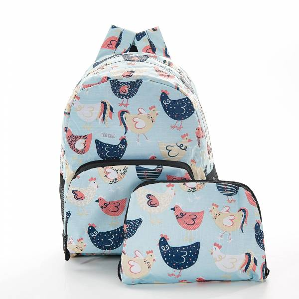 45456 Blue Chicken Mini Foldable Backpack