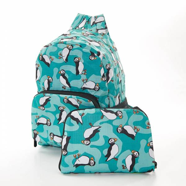 45457 Teal Puffin Mini Foldable Backpack