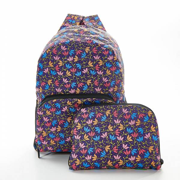 45458 Purple Ditsy Doodle Mini Foldable Backpack