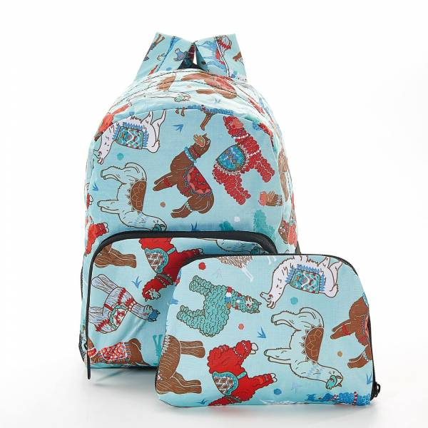 45459 Blue Llama Mini Foldable Backpack