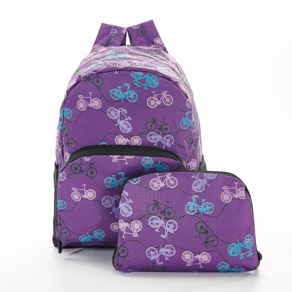45461 Purple Bike Mini Foldable Backpack