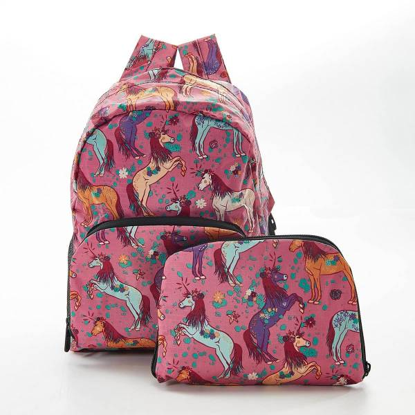 45463 Pink Unicorn Mini Foldable Backpack