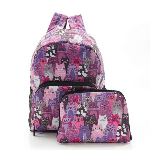 45467 Purple Cats Mini Foldable Backpack Pack Of 2