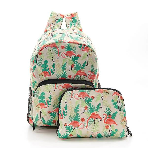 45468 Beige Flamingo Mini Foldable Backpack Pack Of 2