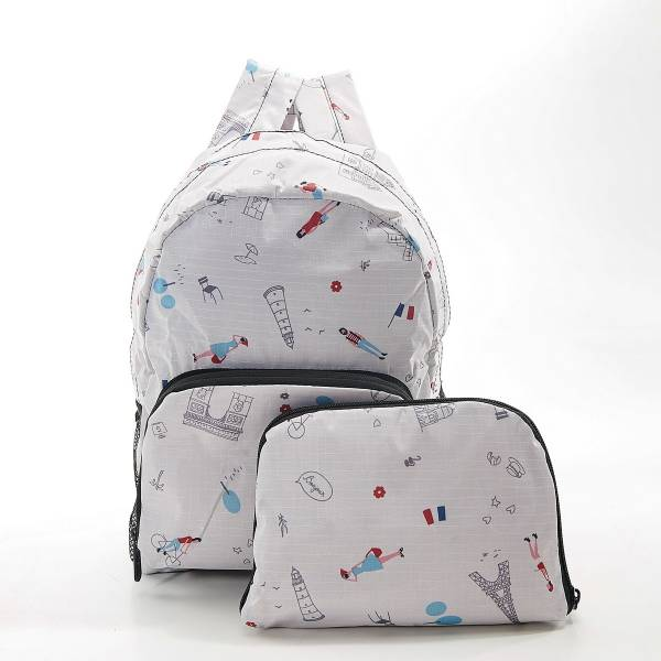 45470 White Paris Mini Foldable Backpack Pack Of 2
