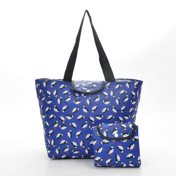45502 Blue Puffin Foldable Large Cool Bag Pack Of 4