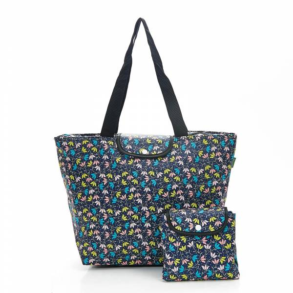 45503 Black Ditsy Doodle Foldable Large Cool Bag Pack Of 4