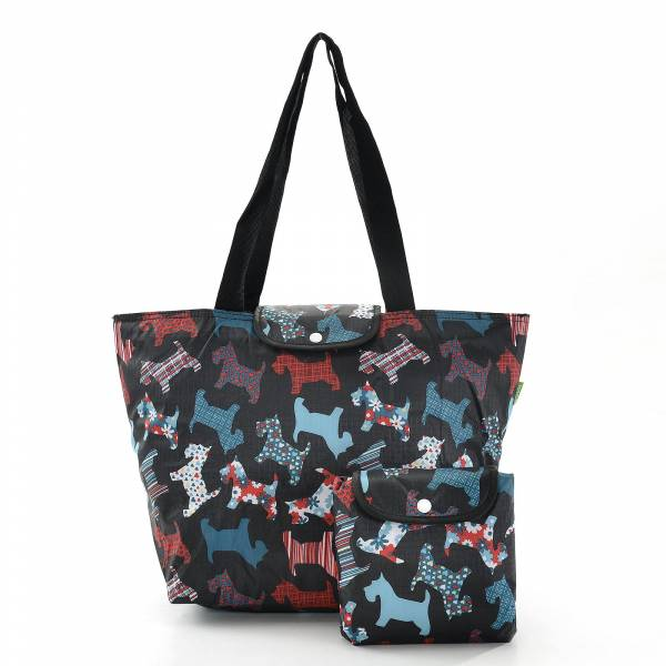 45519 E04 Floral Scotty Dog Foldable Large Cool Bag Pack Of4