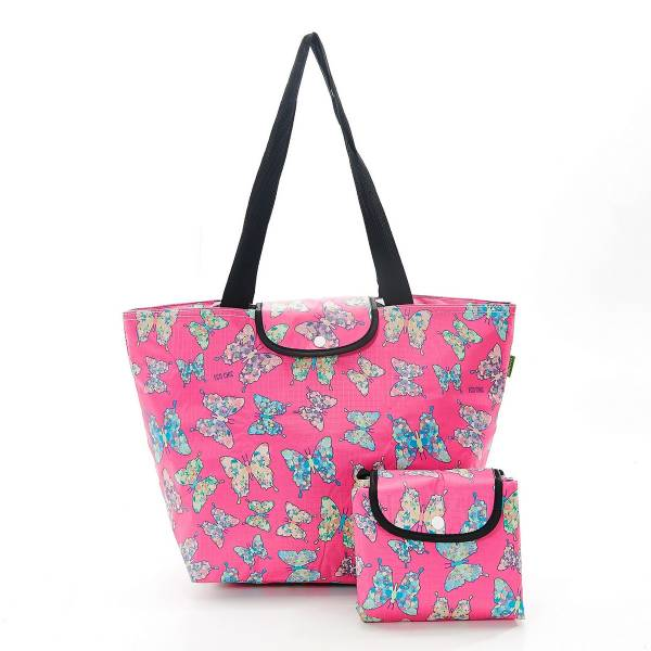 45528 Fuchsia Butterfly Foldable Large Cool Bag Pack Of 2
