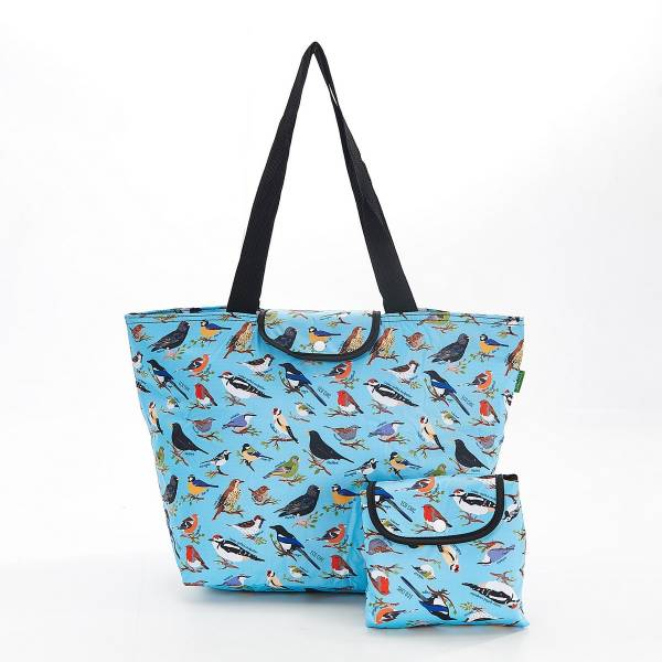 45529 E08  Blue Wild Birds Foldable Large Cool Bag Pack Of 2