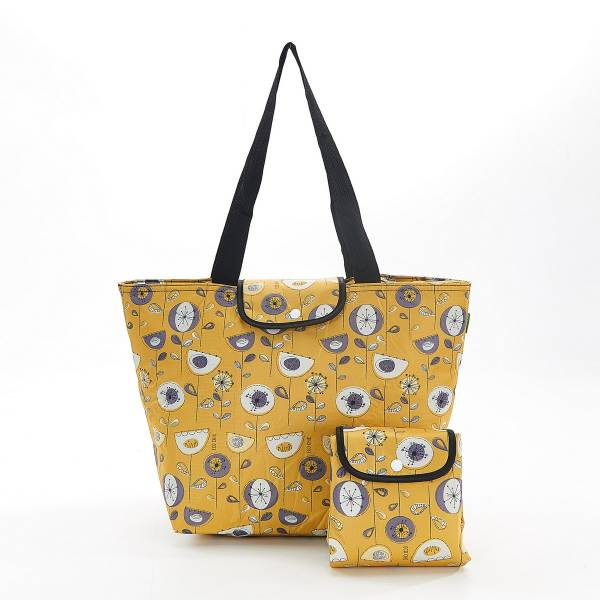 45530 Mustard 1950's Flower Foldable Large Cool Bag Pack Of2