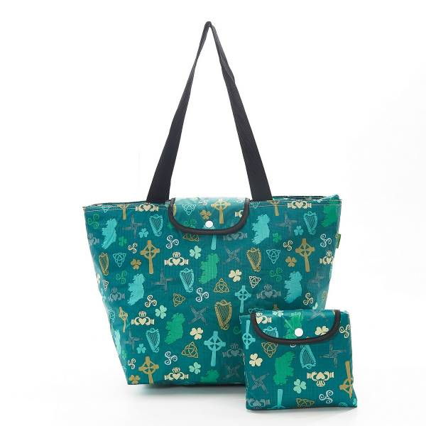 45539 Green Irish Montage Foldable Large Cool Bag Pack Of 2