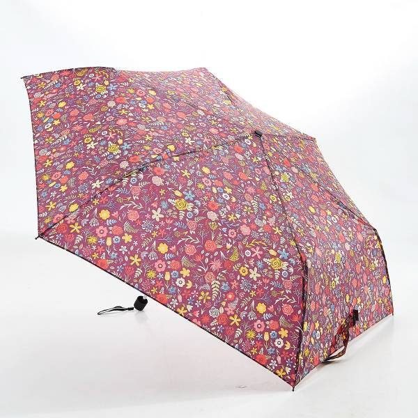 46122 Burgundy Floral Mini Umbrella
