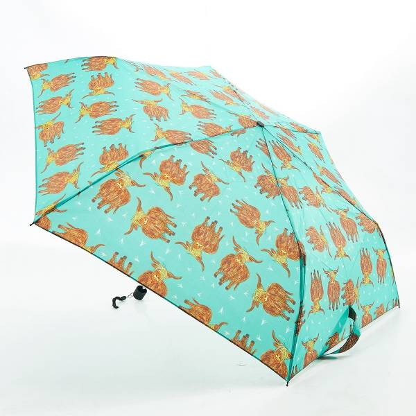 46124 Green Highland Cow Mini Umbrella