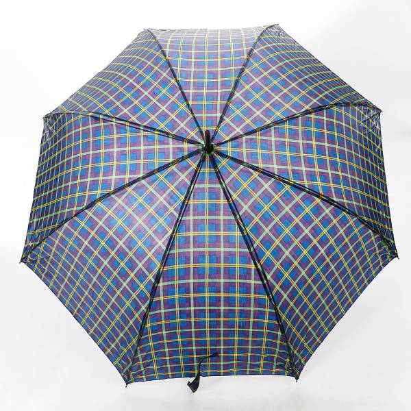 46214 Navy Tartan Fibreglass Walking Umbrella