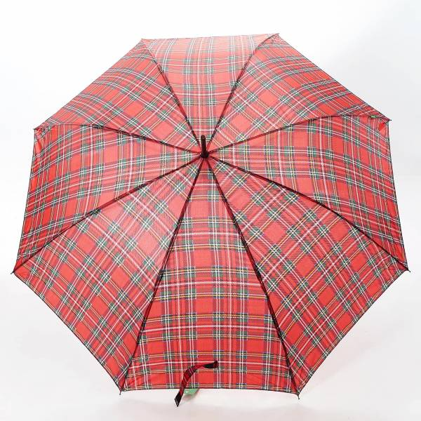 46215 Red Tartan Fibreglass Walking Umbrella