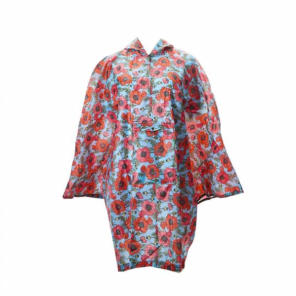 46913 Blue Poppies Foldable Poncho