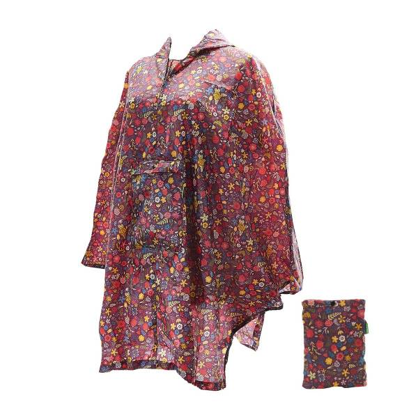 46927 Burgundy Floral Foldable Poncho