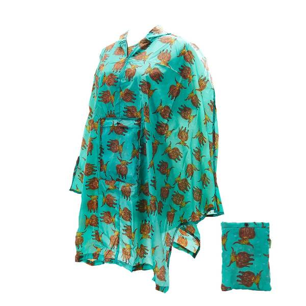 46929 Green Highland Cow Foldable Poncho