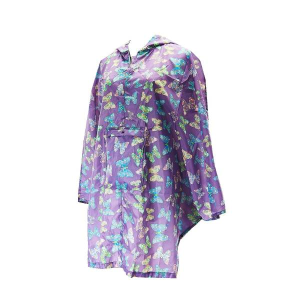 46930 Lilac Butterfly Foldable Poncho Pack Of 2