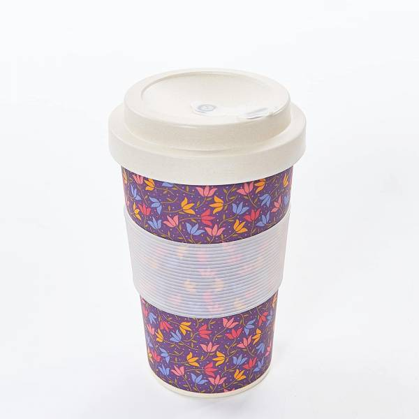 81002 Purple Ditsy Doodle Bamboo Cup Pack of 3