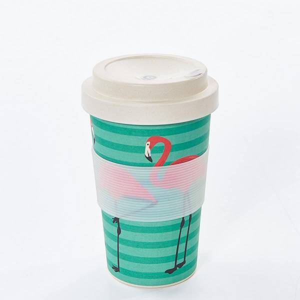 81003 Green Flamingo Bamboo Cup Pack of 3