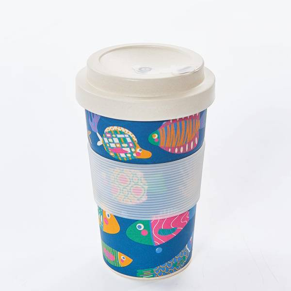 81004 Blue Tropical Fish Bamboo Cup Pack of 3