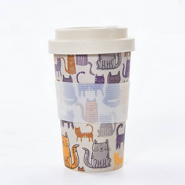 81005 Grey Funky Cat Bamboo Cup Pack of 3