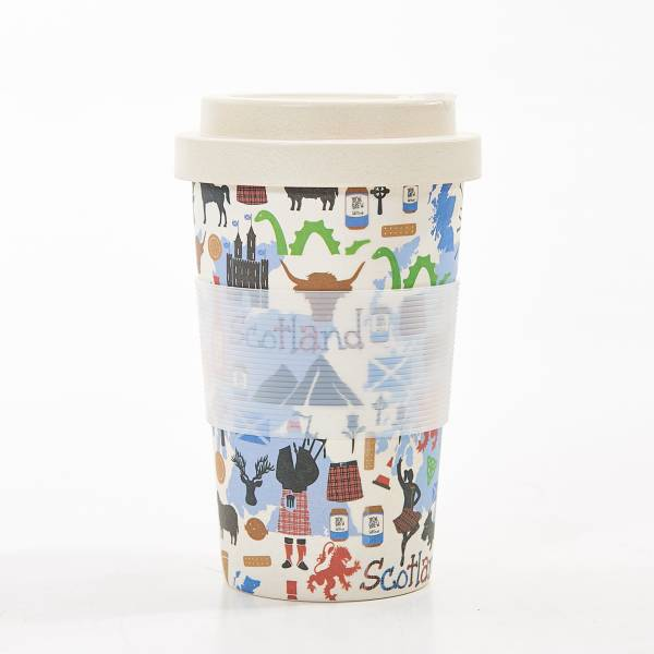81030 White Scottish Montage Bamboo Cup Pack Of 3